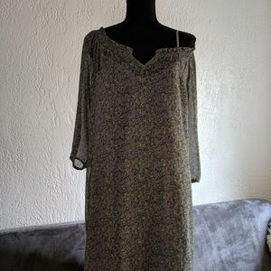 Gray Crepe Dress with Flowers; Incl Slip ON